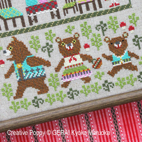 The Three Bears cross stitch pattern by GERA! by Kyoko Maruoka, zoom 1