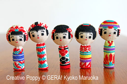 5 Kokeshi dolls (cross stitch pattern & tutorial) cross stitch pattern by GERA! Kyoko Maruoka