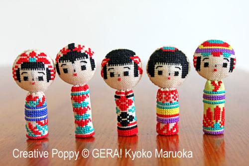 GERA! by Kyoko Maruoka - 5 Kokeshi dolls (cross stitch chart)
