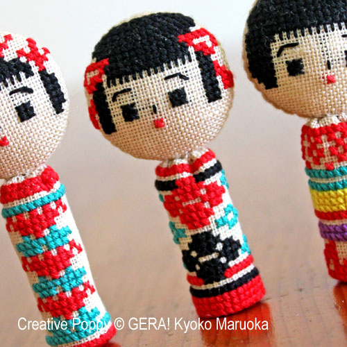 5 Kokeshi dolls cross stitch pattern by GERA! by Kyoko Maruoka, zoom1