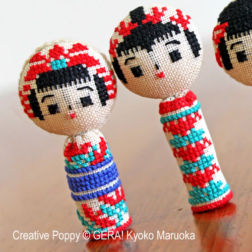 5 Kokeshi dolls cross stitch pattern by GERA! by Kyoko Maruoka, zoom3