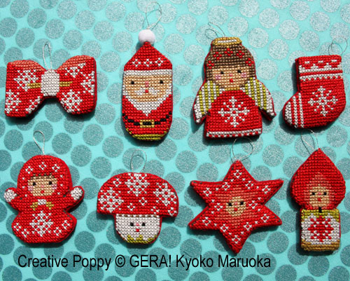 gera by kyoko maruoka mini christmas ornaments cross stitch pattern - Cross Stitch Christmas Decorations