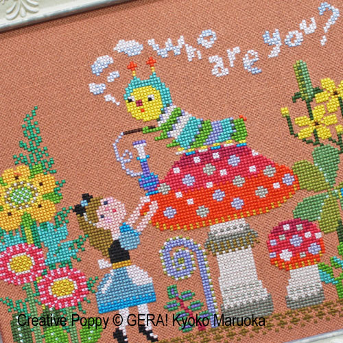 Alice Meet the Caterpillar cross stitch pattern by GERA! by Kyoko Maruoka, zoom1