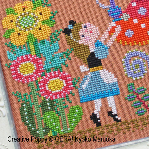 Alice Meet the Caterpillar cross stitch pattern by GERA! by Kyoko Maruoka, zoom3