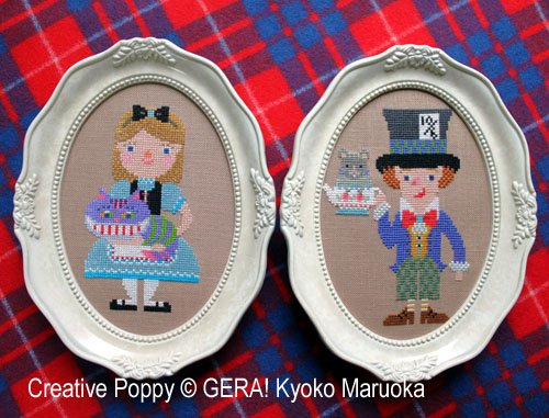 Alice in Wonderland portraits cross stitch pattern by GERA! Kyoko Maruoka