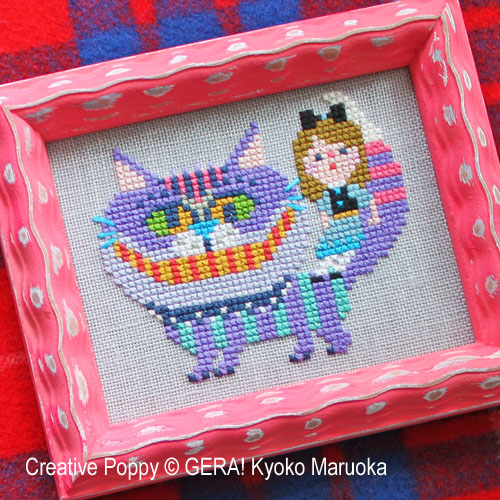 The Cheshire cat cross stitch pattern by GERA! Kyoko Maruoka, zoom 1