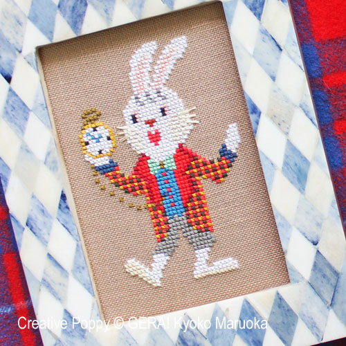 The White Rabbit cross stitch pattern by GERA! Kyoko Maruoka, zoom 1