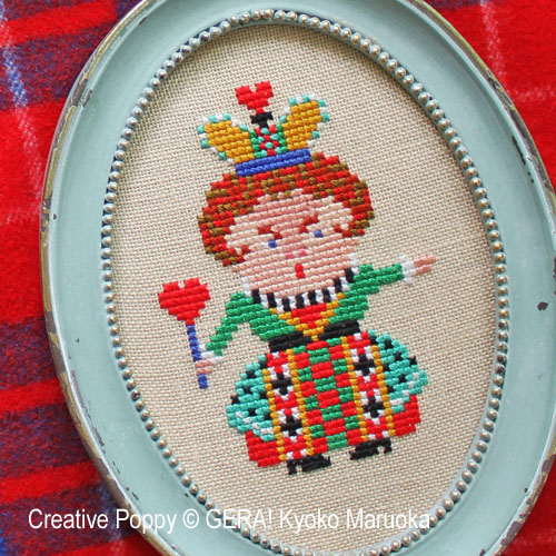 The Queen of Hearts cross stitch pattern by GERA! Kyoko Maruoka, zoom 1