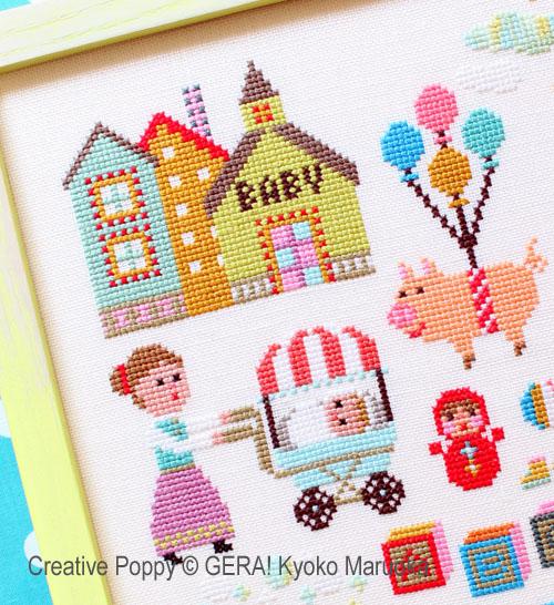 Baby Girl Birth announcement Flamingo Custom Cross stitch PDF Pattern #175