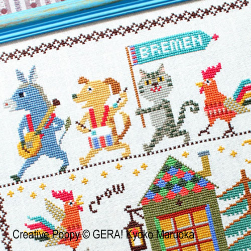 The Bremen Musicians cross stitch pattern by GERA! by Kyoko Maruoka, zoom 1