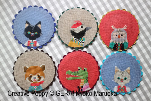 Animal Coasters cross stitch pattern by GERA! Kyoko Maruoka