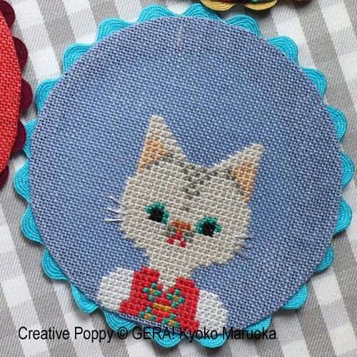 Animal Coasters cross stitch pattern by GERA! Kyoko Maruoka, zoom1