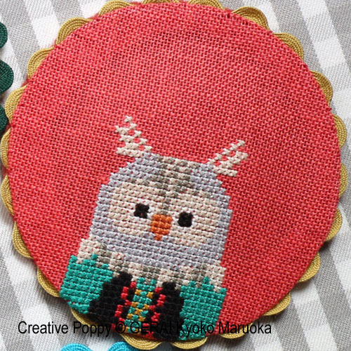 Animal Coasters cross stitch pattern by GERA! Kyoko Maruoka, zoom 3