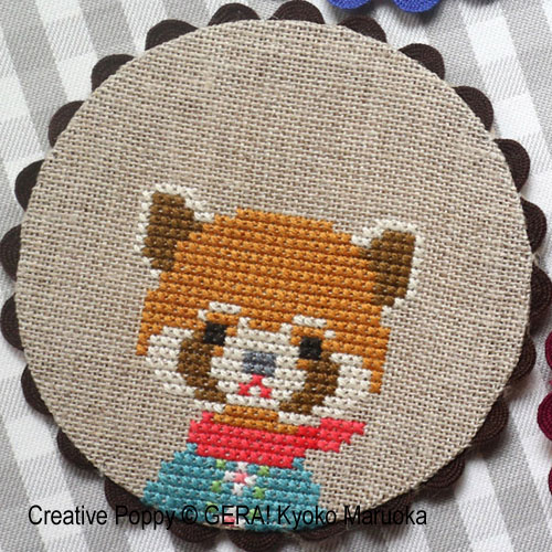 Animal Coasters cross stitch pattern by GERA! Kyoko Maruoka, zoom 4