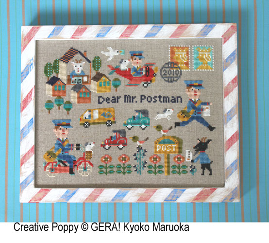 Dear Mr Postman cross stitch pattern by GERA! Kyoko Maruoka
