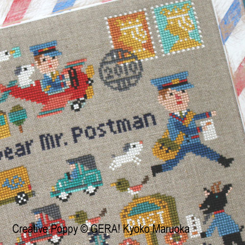 Dear Mr Postman cross stitch pattern by GERA! by Kyoko Maruoka, zoom1