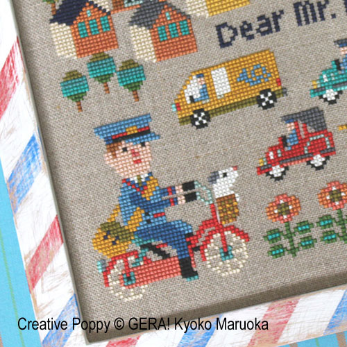 Dear Mr Postman cross stitch pattern by GERA! by Kyoko Maruoka, zoom 3