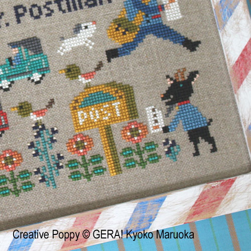 Dear Mr Postman cross stitch pattern by GERA! by Kyoko Maruoka, zoom 4