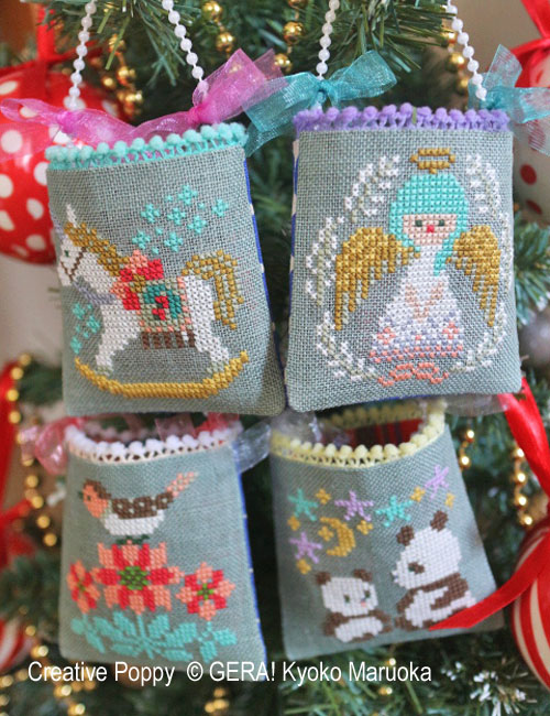 Christmas Mini bag Ornaments cross stitch pattern by GERA! Kyoko Maruoka
