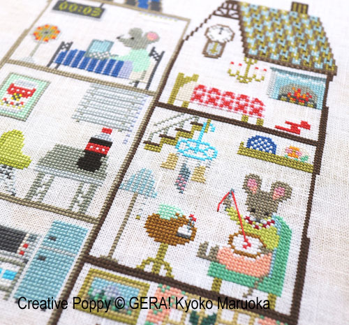 The City Mouse and the Country Mouse cross stitch pattern by GERA! Kyoko Maruoka, zoom 1