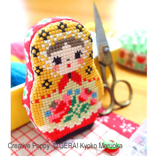 Matryoshka II - Needlework Set of 5 cross stitch pattern by GERA! Kyoko Maruoka, zoom 1