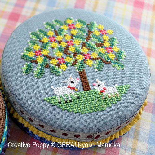 Round tin cans - 2 cross stitch pattern by GERA! Kyoko Maruoka