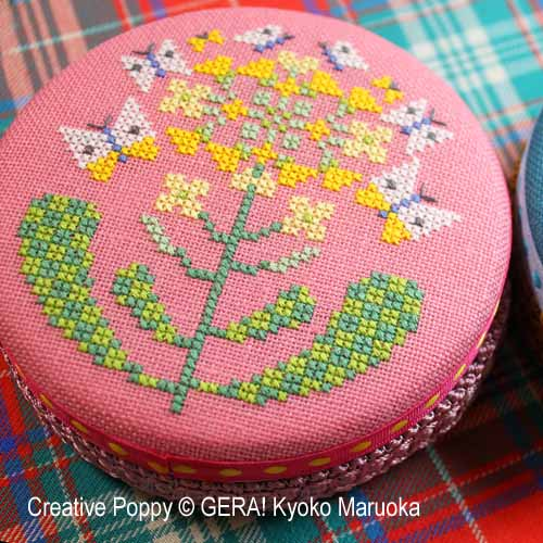 Round Tin cans (Butterfly Flowers) cross stitch pattern by GERA! Kyoko Maruoka