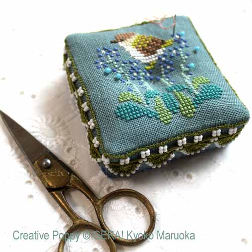 Sewing Set motifs: Baby Boar and Japanese Flowers cross stitch pattern by GERA! Kyoko Maruoka, zoom 1