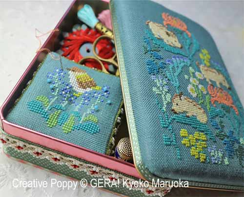 Gera! by Kyoko Maruoka - Sewing set - Baby Boars and Japanese Flowers (cross stitch chart)
