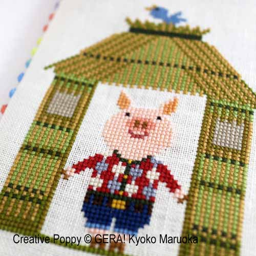 Three Little Pigs cross stitch pattern by GERA! by Kyoko Maruoka