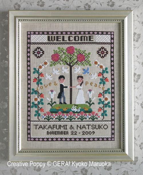 Happy Wedding Welcome cross stitch pattern by GERA! Kyoko Maruoka