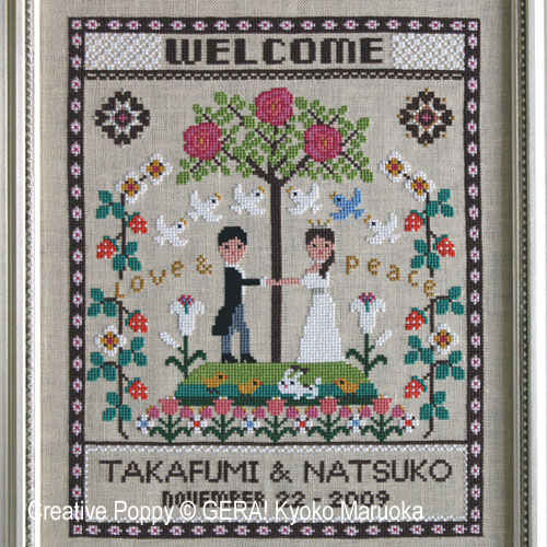 Happy Wedding - Welcome cross stitch pattern by GERA! Kyoko Maruoka