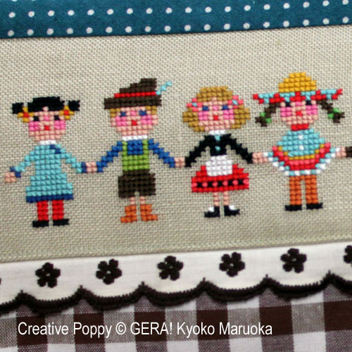 International Kids  cross stitch pattern by GERA! by Kyoko Maruoka, zoom 1