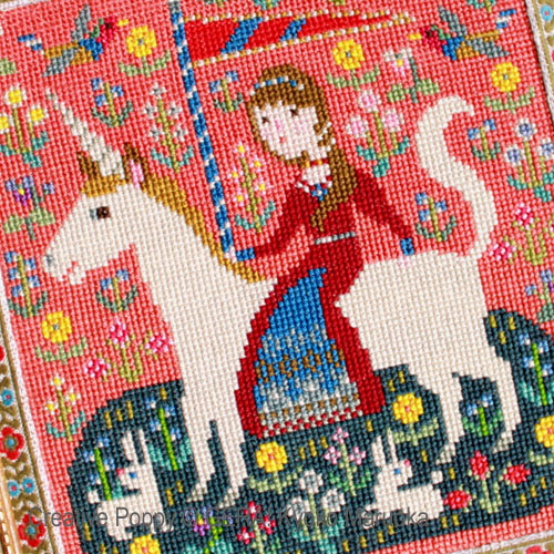 The lady and the Unicorn cross stitch pattern by GERA! Kyoko Maruoka, zoom 3