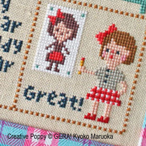 Little Klara cross stitch pattern by GERA! Kyoko Maruoka, zoom3
