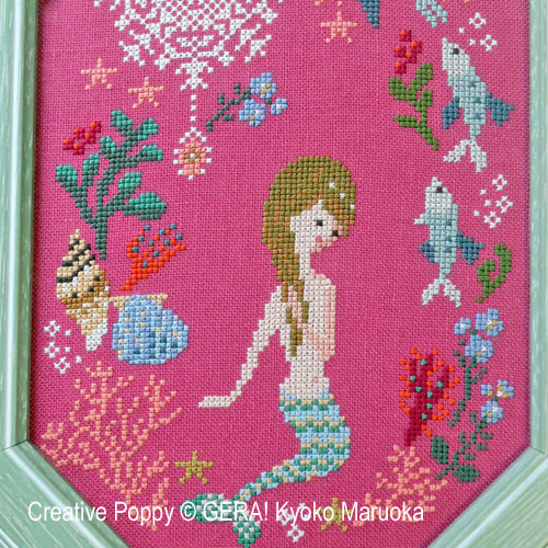 The Little Mermaid cross stitch pattern by GERA! Kyoko Maruoka, zoom 1