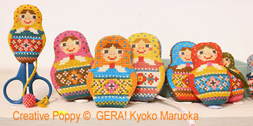Matryoshka Needlework set  cross stitch pattern by GERA! by Kyoko Maruoka