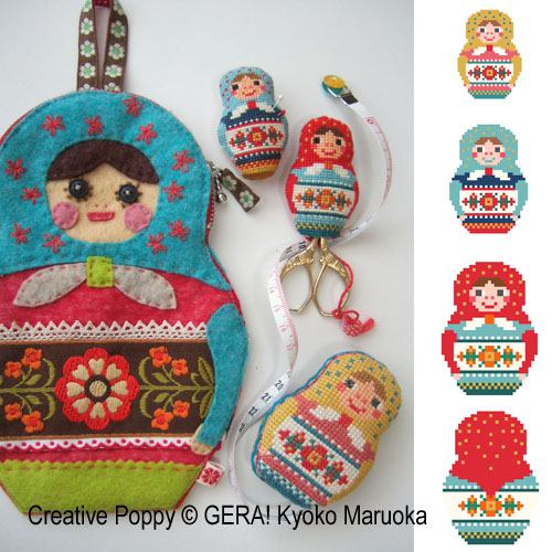 Matryoshka Needlework set cross stitch pattern by GERA! by Kyoko Maruoka, zoom1