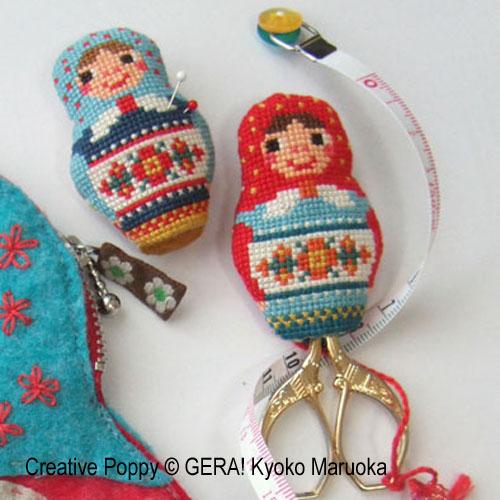 Matryoshka Needlework set cross stitch pattern by GERA! by Kyoko Maruoka, zoom 4