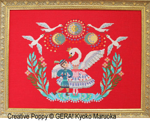 Swan Lake cross stitch pattern by GERA! by Kyoko Maruoka
