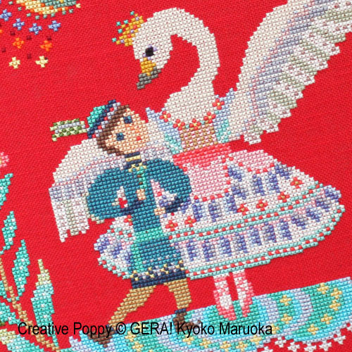 Swan Lake cross stitch pattern by GERA! by Kyoko Maruoka, zoom 1
