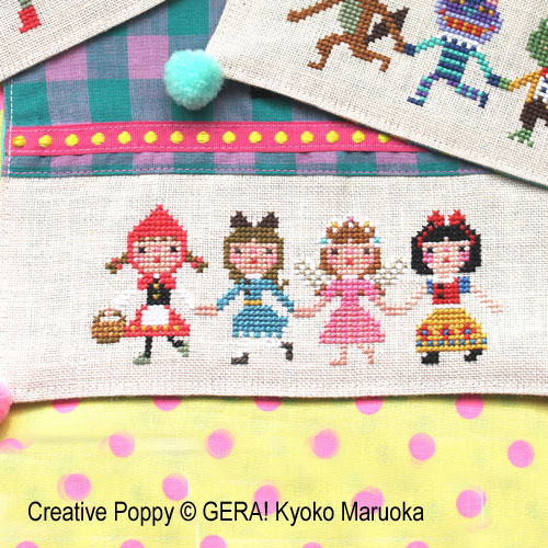 GERA! by Kyoko Maruoka - The funny Quartets zoom 1 (cross stitch chart)