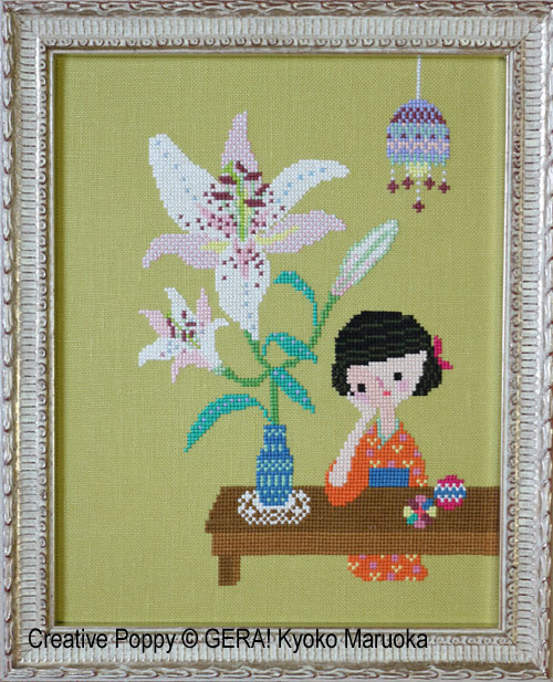 The Scent of Lilies cross stitch pattern by GERA! Kyoko Maruoka