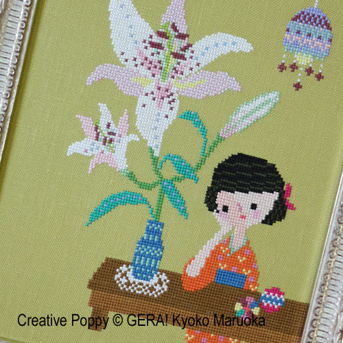 The Scent of Lilies cross stitch pattern by GERA! Kyoko Maruoka, zoom 1