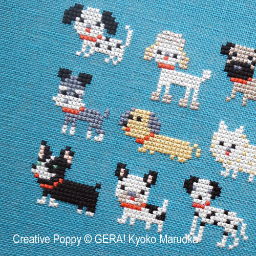 15 Dog breeds cross stitch pattern by GERA! Kyoko Maruoka, zoom 1