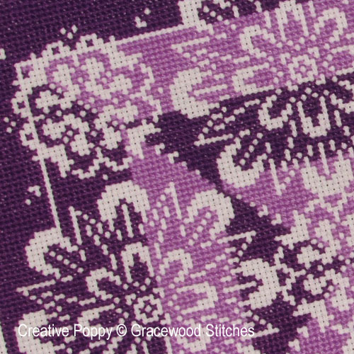 Traces of Lace - Vividly Violet cross stitch pattern by Gracewood Stitches, zoom 1