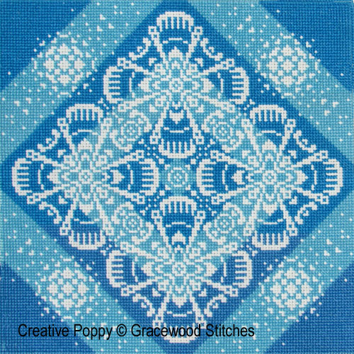 Traces of Lace - Burts of Blue cross stitch pattern by Gracewood Stitches
