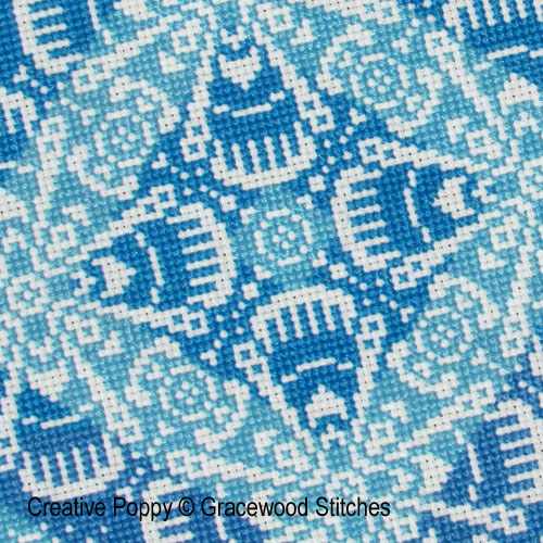 Traces of Lace - Bursts of Blue cross stitch pattern by Gracewood Stitches, zoom 1
