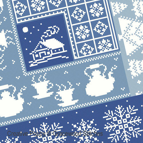 January - Cosy cabin cross stitch pattern by Gracewood Stitches, zoom 1