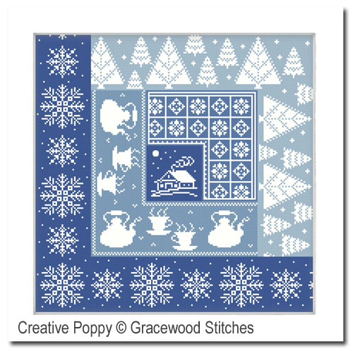 January - Cosy cabin cross stitch pattern by Gracewood Stitches